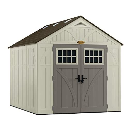 Garden and Outdoor Suncast BMS8100 8′ x 10′ Heavy-Duty Resin Tremont Storage Shed, Vanilla outdoor storage sheds