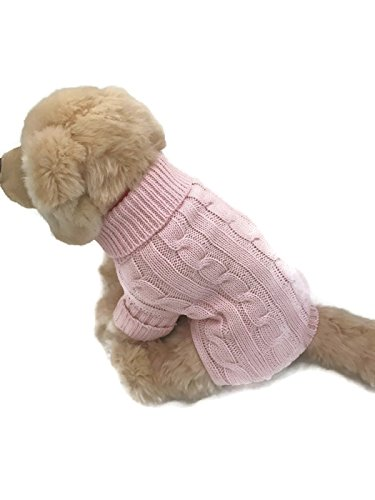 Pink Dog Knit Sweater - Le Petit Chien Small Dog Puppy Cable Knit Sweater (Small, Valentine Pink)