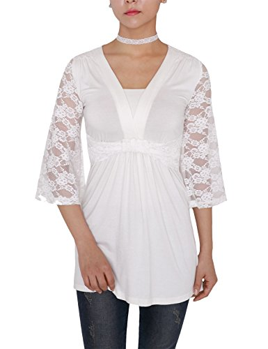[VIVALACE Womens 3/4 Lace Sleeve Twist Front Coll Fabric Basic Lace Tunic White, X-Large] (Cheerleader Outfit For Sale)