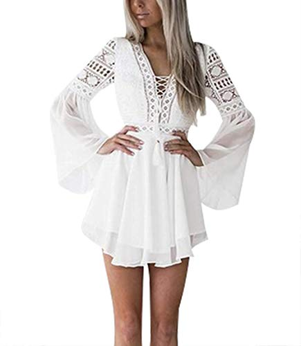 - Lace Dresses for Women Crochet High Waisted Solid Color Elegent Ruffle Short Dress White