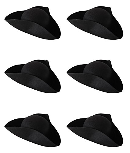 Beistle 60043 Felt Tricorn Hats, Black, 6 Piece