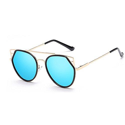 Gafas de Protección de gato Retro y sol sol metálica de Para ribeteadas sol montura UV de mujeres unisex Gafas Gafas viajar Personalidad para Gafas Conducción Lente con sol hombres Azul colorida Ojos de nT4IEI