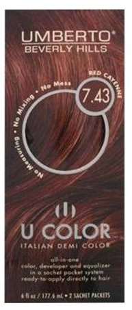 U Color by Umberto Italian Demi Color 7.43 Red Cayenne
