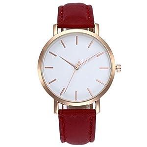 JYC Women Leather Simple Business Fashion Quartz Wrist Watch Quartz Watch Creative Starlight Dial with Genuine Leather…