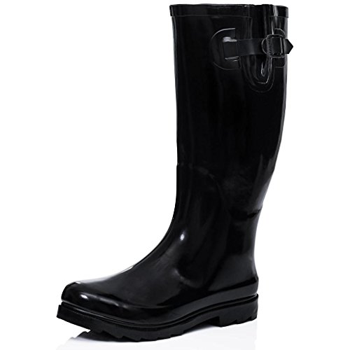 Flat Festival Wellies Wellington Rain Boots Black US 10