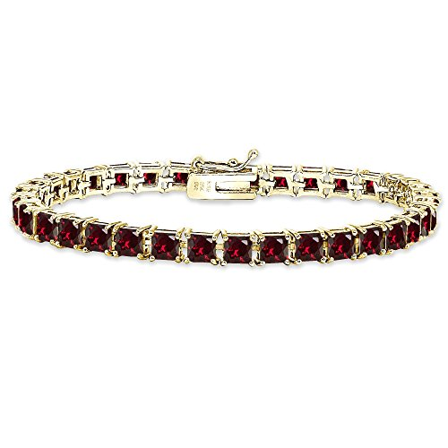 Yellow Gold Flashed Sterling Silver Created Ruby 4mm Princess-Cut Square Classic Tennis -
