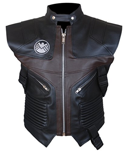 F&H Men's Avengers Age of Ultron Hawkeye Jeremy Renner Genuine Leather Vest L Black