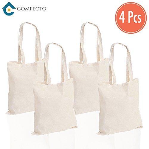 4 Pack Heavy Canvas Cotton Tote Bags - Reusable Grocery Bag Machine Washable Canvas Shopping Bags with Long Handy Straps – Eco Friendly Reusable Bags for Book Store Foods Art - Mall Marketplace Stores