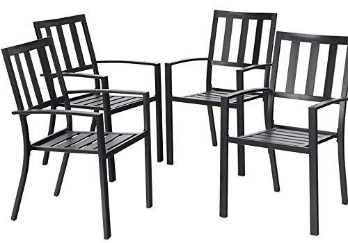EMERIT Patio Wrought Metal Indoor Outdoor Stackable Dining Arm Chairs Set of 4,Black