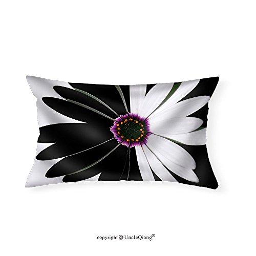 VROSELV Custom pillowcasesFlower Black and White - Fabric Home Decor(20''x30'') by VROSELV