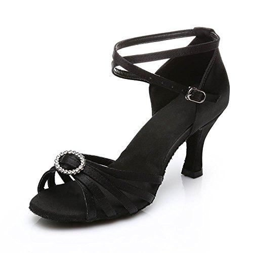 HROYL Zapatos de baile/Zapatos latinos de satín mujeres ES7-218 el negro