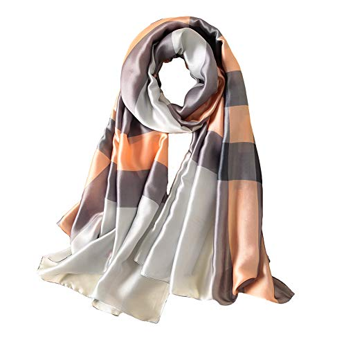 100% Silk Scarf - Women's Fashion Large Sunscreen Shawls Wraps - Lightweight Floral Pattern Satin for Headscarf&Neck (Geometric Pattern-grey)