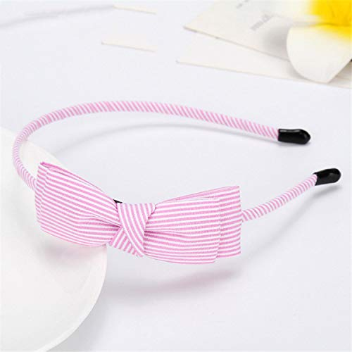 Women Girls Stripe Bow Headband Hairband Green Pink Lace Cute Gentlewoman Hair Band Accessories -