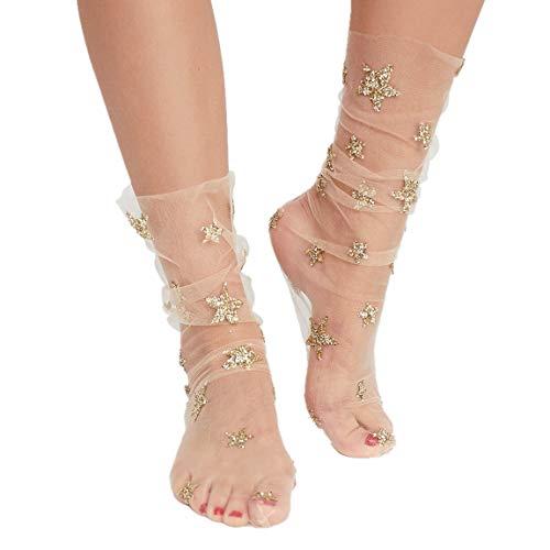 Women Socks, Winzik New Fashion Ultra-thin Elastic Net Transparent with Pearl-like Silk Stockings Women Lace Ankle Socks (Star-Gold)
