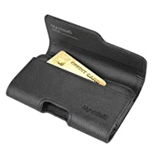Huawei Y6 Pro (2017) Case, Premium Leather Wallet Pouch Holster Belt Case w/ Clip / Loops for Huawei Y6 Pro (2017) (Fits w/ Otterbox / Lifeproof Slim Case On), w/ Card Slot, Black