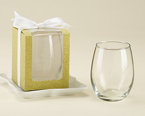 Kate Aspen, Gold Shimmer Display Gift Box, Gift/Party Favor, can hold9 oz. Stemless Wine Glass (Set of 12) ()