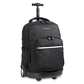 J World New York Sunrise Rolling Backpack, Black, 18-Inch