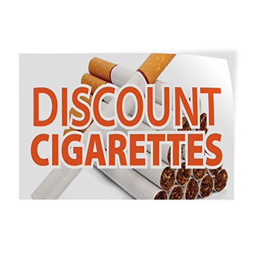 Decal Sticker Multiple Sizes Discount Cigarettes Business Style T Business Discount Cigarettes Outdoor Store Sign White - 12inx8in, One ()