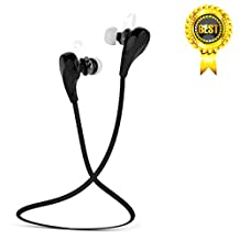 Bluetooth Sport Eearbuds, Stereo Wireless Sport Headphones, In-Ear Noise Cancelling Earphones and Lightweight Sweatproof Headsets with Mic for Running,Workout (Black)