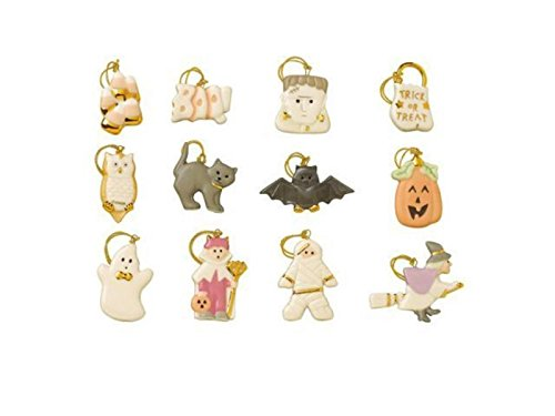 Lenox Halloween Trick Or Treat Miniature Tree Ornaments 12 Pumpkin Ghost Cat (Lenox Pumpkin)