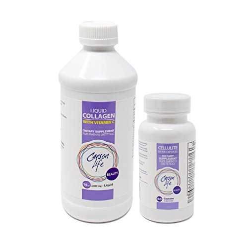 CARSON LIFE - Anti Cellulite Detox Pills (1 Bottle, 60 Tablets) Bundle With Vitamin C Liquid Collagen - (1 Bottle, 16 Oz) - Helps Prevent and Eliminate Cellulite - For Men & Women - Immune Support