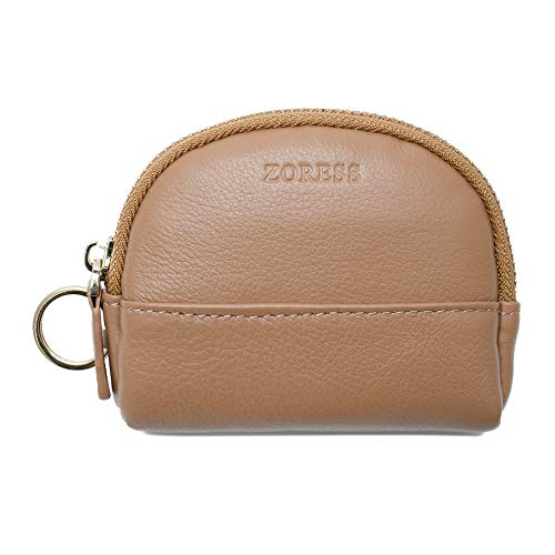 (ZORESS Mini Soft Leather Coin Purse Card Holder with Key Chain Shell shape wallet (Brown))