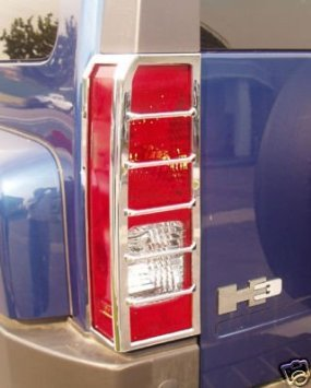 (Hummer H3 Chrome Taillight Guards / Tail Light Covers 2006, 2007, 2008, 2008, 2009, and 2010 H3)