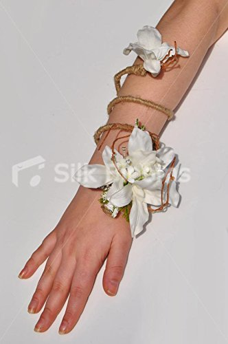 (Artificial White Dendrobium Orchid Wrist Corsage with Hessian Twist)