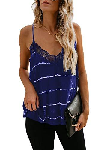 Silindashop Women's Blue V Neck Strappy Chiffon Tank Tops Loose Casual Sleeveless Shirts
