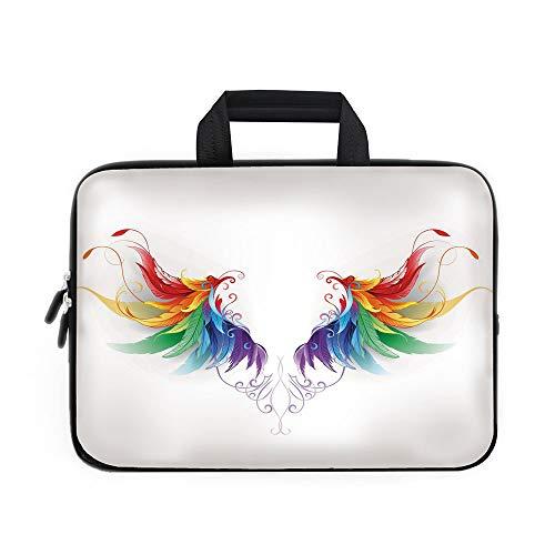 Funda de neopreno para portátil con diseño de arcoíris, diseño de chevrón con lunares blancos, arte psicodélico...