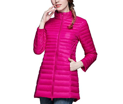3719da4937a29 Amazon.com  Huainsta Brand Casual Duck Down Jacket Women Stand Collar Ultra  Light Female Autumn Winter Warm Long Down Coat Plus Size Rose Red XXL   Clothing