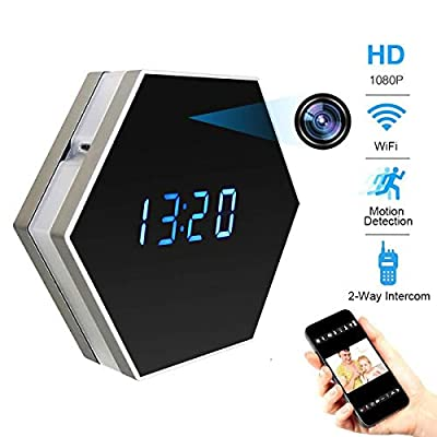 Pelay HD 1080P WiFi Alarm Clock Hidden Spy Camera Night Vision with Motion Detector,Intercom and 160 Degree, Wireless Security Small Nanny Camera,Support 12/24 Hour Systems by Shenzhen Zhongli Dingtai Technology Co.,Ltd