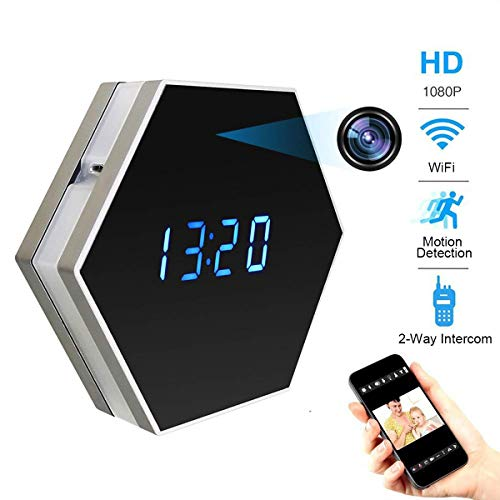 Pelay HD 1080P WiFi Alarm Clock Hidden Spy Camera Night Vision with Motion Detector,Intercom and 160 Degree, Wireless Security Small Nanny Camera,Support 12/24 Hour Systems
