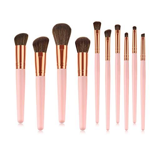 Giokfine 2019 Foundation Cosmetic Eyebrow Eyeshadow Brush Makeup Brush Sets Tools 10PCS (Best Makeup Foundation 2019)