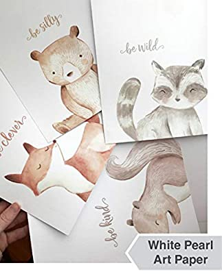 Woodland Nursery Wall Decor Art - 8x10 Unframed Set of 4 Prints - Forest Creatures Boy Girl Watercolor Quotes Animal Artwork Posters - Bear Fox Raccoon Squirrel