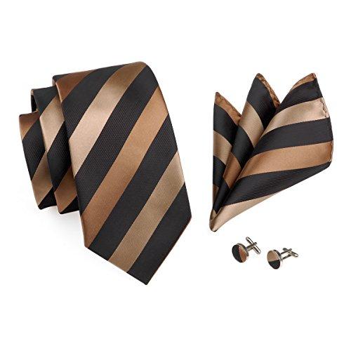 Barry.Wang Mens Ties Classic Stripe Tie Set for Men Silk Woven