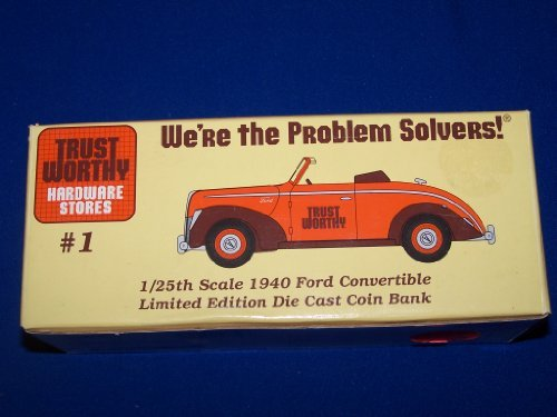 Liberty Classics TRUSTWORTHY HARDWARE FIRST EDITION 1940 Ford Convertible Car #1 Bank in 1:25 Scale Diecast Metall (Convertible Ford 1940)