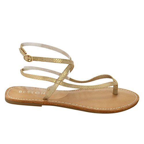 Sandals T Ankle Buckle strap Flat Womens Closure Thong BESTON DE41 Gold Gladitor qg7wTZEvvz