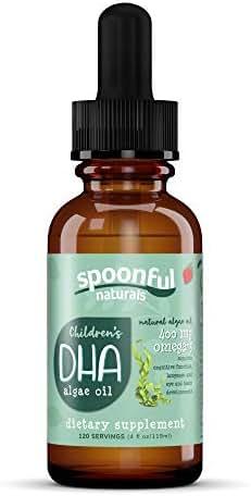 Children's Vegetarian DHA Algae Oil, 400 mg DHA Omega 3, Plant-Based Vegan Brain Support Supplement with Zero Sugar Natural Strawberry Flavor, 4 Ounce