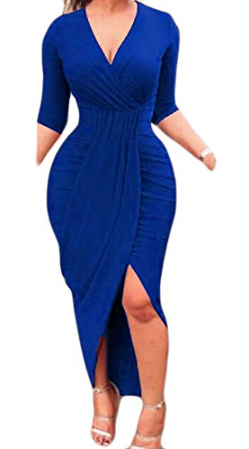 Blue Bodycon Neck Elegant Dresses Solid Sexy Comfy Club Irregular Women V Royal X04waPZ