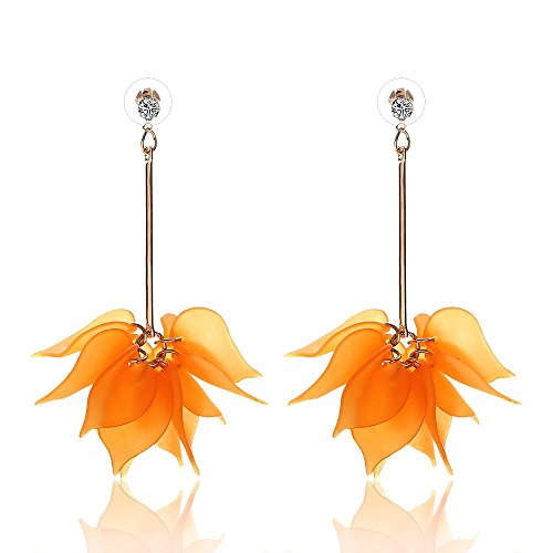 Crystal Drop Earrings Flower (LiveSublime Elegant Boho Chic Crystal Flower Dangle Drop Earrings (orange))
