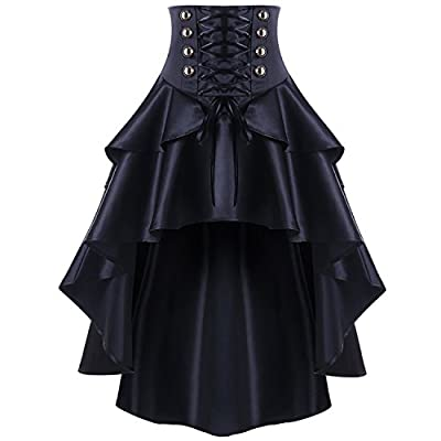 KennsGations Black Lace up Ruffles Vintage Gothic Skirt Women Plus Size Mini High Low Skirts Womens Punk Party Skirt