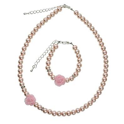 Amazon crystal dream flower girl pink simulated pearls flower crystal dream flower girl pink simulated pearls flower necklace with bracelet toddler gift set gstnb2 mightylinksfo