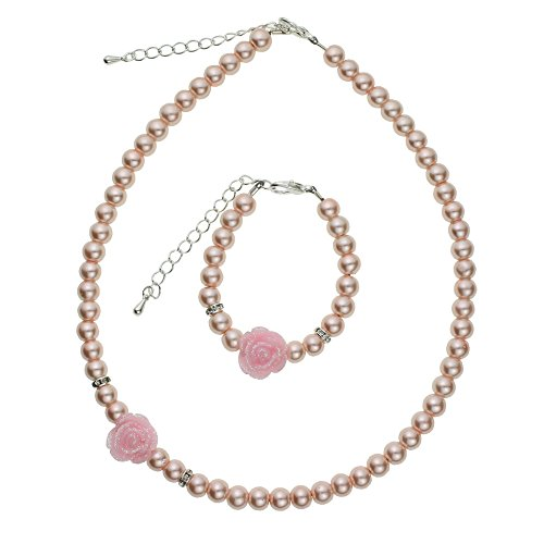 Crystal Dream Flower Girl Pink Simulated Pearls Flower Necklace with Bracelet Toddler Gift Set (Swarovski Crystal Pearl Necklace)