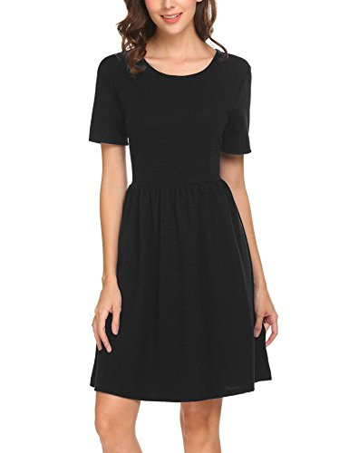 - SE MIU Women Casual Round Neck Short Sleeve A Line Cotton Cute Summer Dress, Black, XXL
