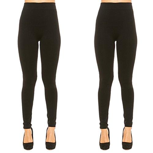 (Premium Leggings for Women Soft Cotton Blend French Terry Winter Warm Pants (L, Black)