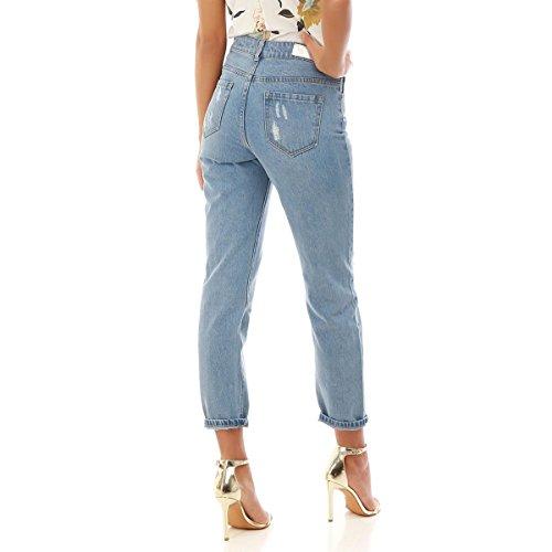 Bleu mom Coupe Destroy Modeuse Jeans La qFBHx77