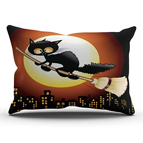 AIHUAW Home Decorative Cushion Covers Throw Pillow Case Halloween Black Cat Cartoon Flying on Witch Broom Pillowcases King 20x36 Inches One Sided Printed (Set of 1)]()