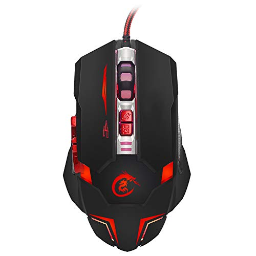 QLPP Gaming Mouse,Wired Ergonomic Gamer USB Computer Mice,3200 DPI Adjustable,7 Programmable Buttons,Ambidextrous, Ergonomic for Desktop PC Laptop