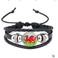 Runfon Welsh Flag National Flag Pattern Pearl Bracelet Braided Bracelet For Fans Football Memorabilia Russia 2018